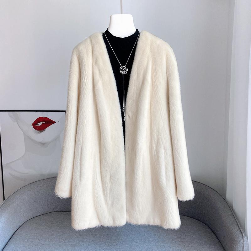 2021冬新款貂皮大衣女整貂中长款开衫进口天鹅绒水貂年轻皮草外套