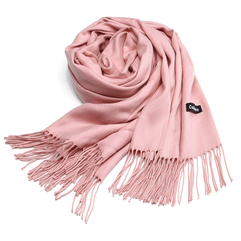 Pink scarf women winter Korean spring and autumn shawl versatile imitation cashmere solid color dual purpose thickened long student neck
