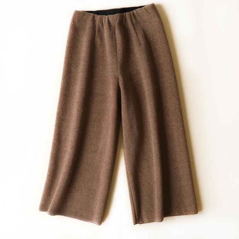 时髦又年轻,GAO端质感型,修腿显瘦,松紧腰羊毛七分阔腿裤女冬