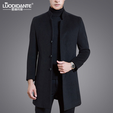 Winter woolen overcoat men's medium and long middle-aged neutral collar business wool overcoat men's cashmere woolen windbreaker jacket
