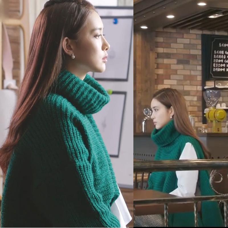 凉生我们可不可以不忧伤未央孙怡姜生同款不规则高领毛衣针织衫绿