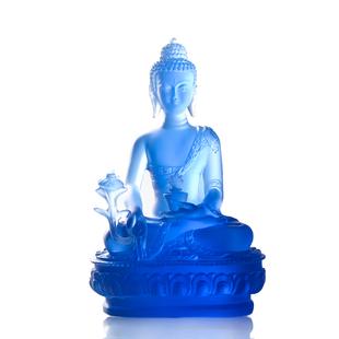 藥師琉璃光如來樹脂仿琉璃藥師佛隨身佛小佛像擺件19釐米結緣包郵