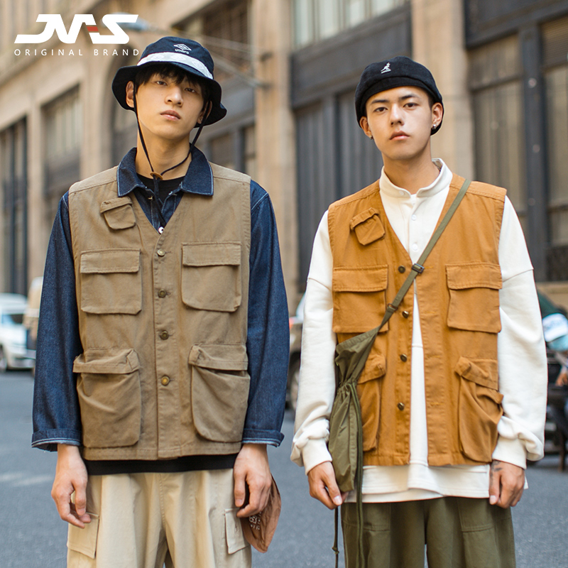 Mr. Jiangnan's 20 spring clothing, new Japanese style, Multi Pocket work clothes, vest, fashionable men's Retro loose waistcoat