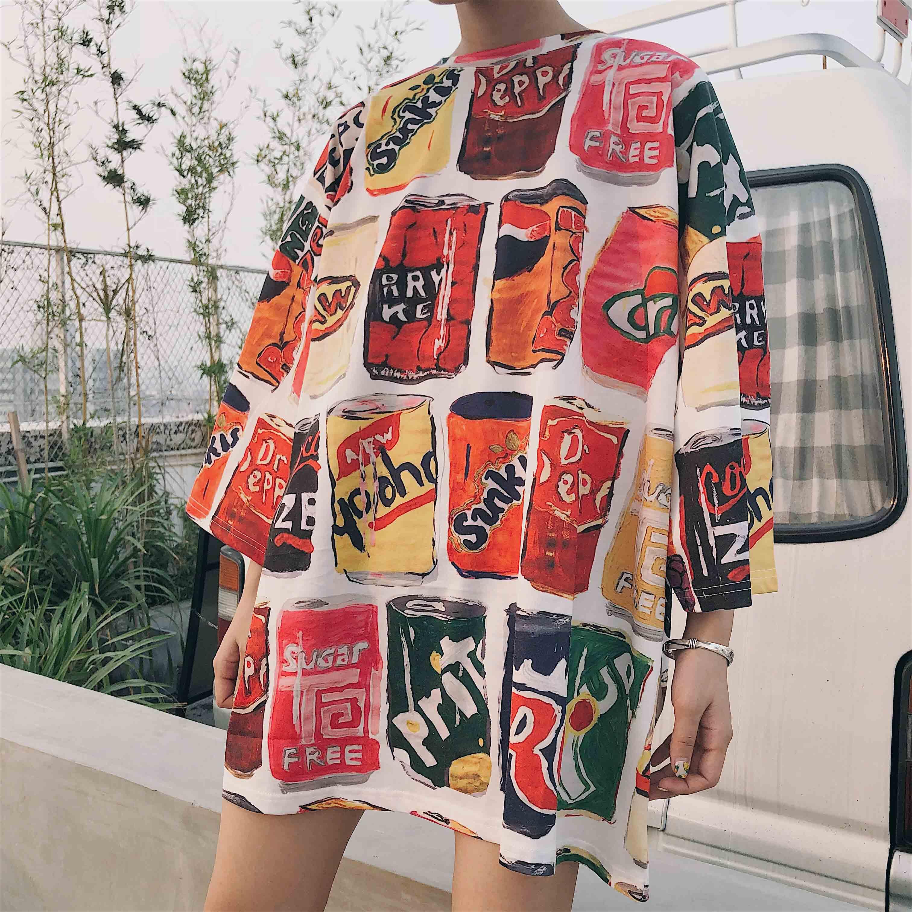 短袖2018新款韩版女装宽松百搭学生上衣可乐印花t恤女半袖ulzzang