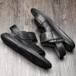 欧洲站真皮凉鞋男2020夏季百搭外穿开车防滑男士皮凉鞋潮流罗马鞋