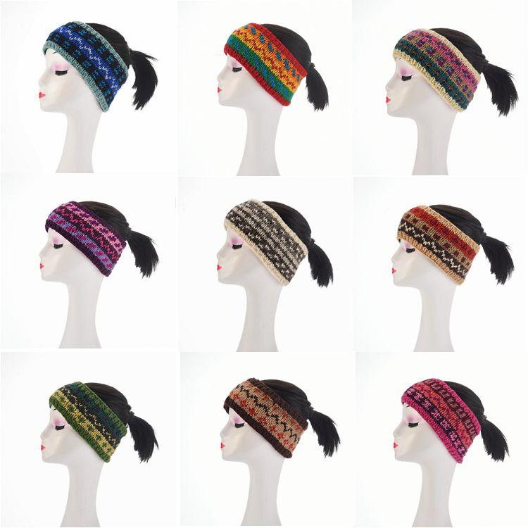 Pure handmade hair hoop wool knitting autumn and winter hair accessories hair belt hair buckle warm empty top hat horsetail confinement headgear