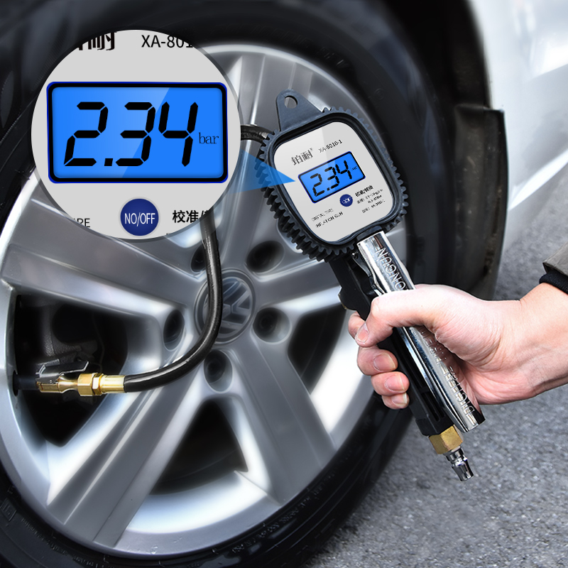 气压表胎压表高精度带充气头汽车轮胎压监测器计数显加气枪打气嘴