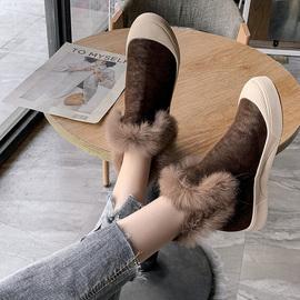 毛毛棉靴女2020冬款加绒加厚保暖绒面韩版短靴女鞋学生厚底二棉鞋图片