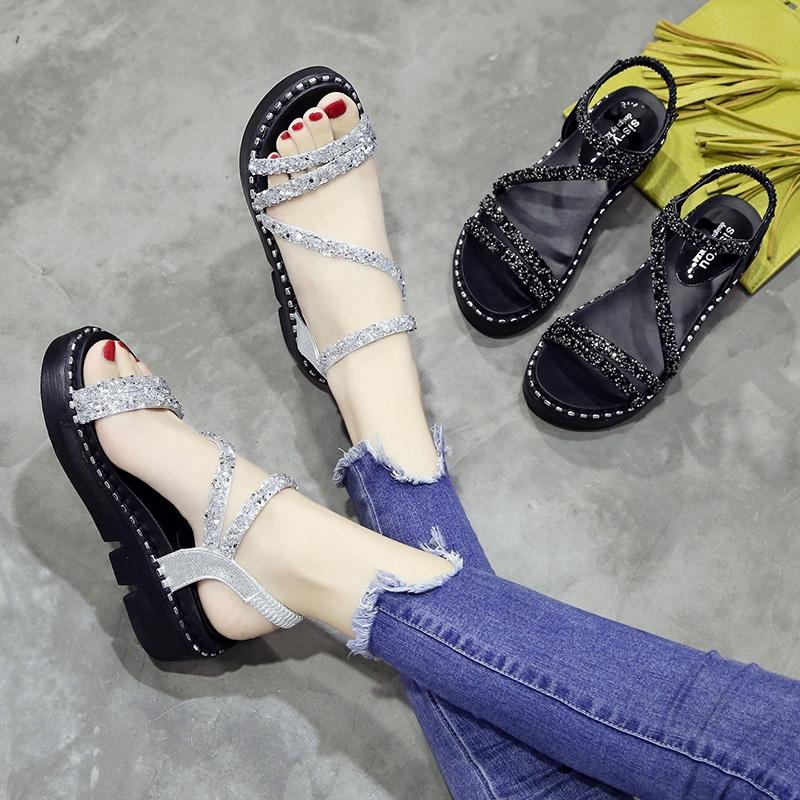 水钻凉鞋女夏季2019新款韩版时尚百搭仙女的鞋厚底学生软妹女鞋子