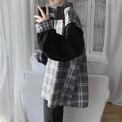 A410-1-CS9956*秋季拼接格子衬衫韩版宽松休闲衬衣潮P60(限价78)