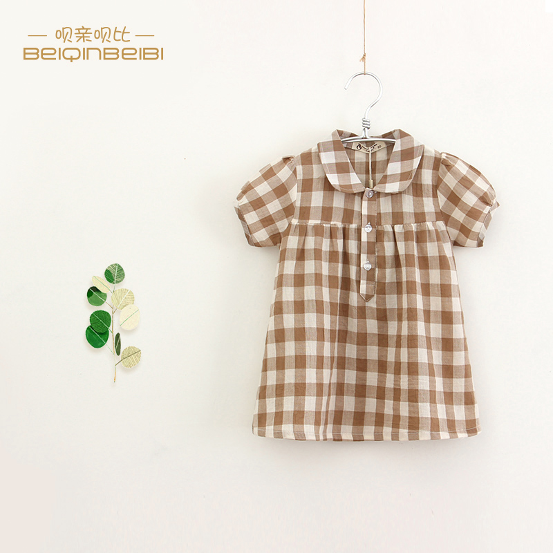 Literature and art model girls summer plaid skirt baby dress pure cotton 1-4 years old 3 girls foreign style skirt summer