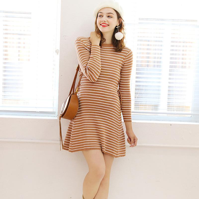 婕西孕妇装秋季新款时尚套头圆领针织连衣裙显瘦条纹孕妇裙D8085