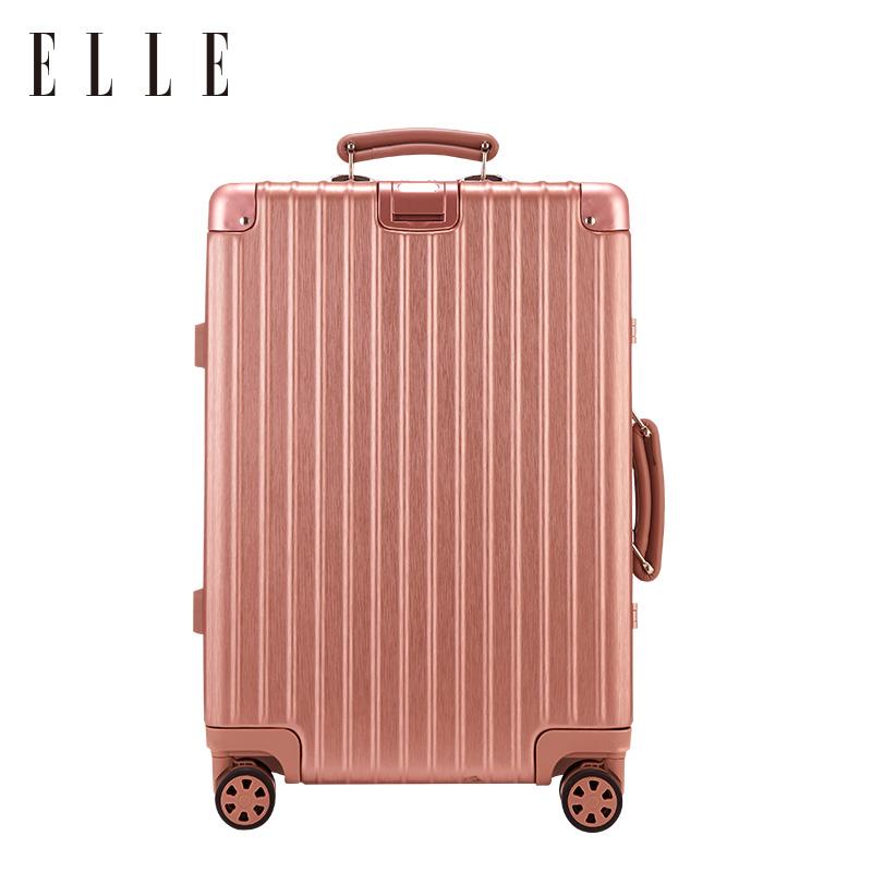 ELLE铝框拉杆箱男24寸万向轮旅行箱20寸密码登机箱女万向轮行李箱
