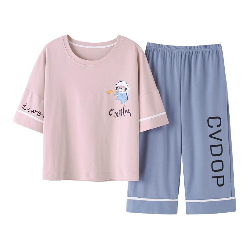 南极人夏季睡衣女纯棉短袖套装半袖七分裤薄款可爱中裤家居服套装