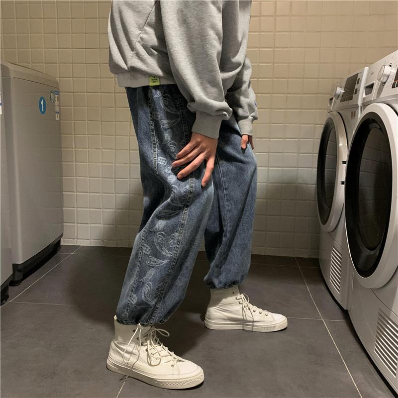 腰果花拼接直筒牛仔裤男欧美街头嘻哈束脚裤子ins潮牌复古工装裤