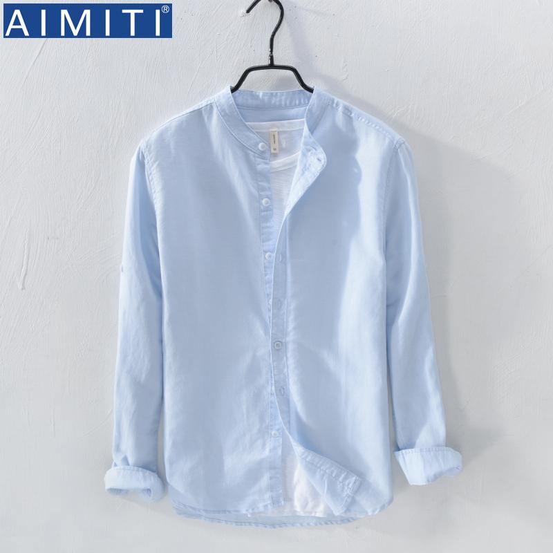无领白衬衫男长袖韩版潮流衬衣帅气很仙的上衣痞帅浅蓝亚麻棉寸衣10-28新券