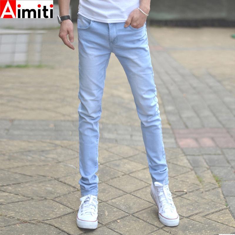浅色牛仔裤男夏季薄款韩版潮流百搭小脚修身铅笔休闲弹力浅蓝长裤
