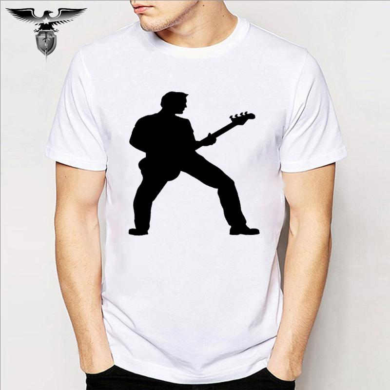 ジャズギターバンドヒッピーロック綿ファッション男女半袖Tシャツカップル親子トップスがかっこいいです。