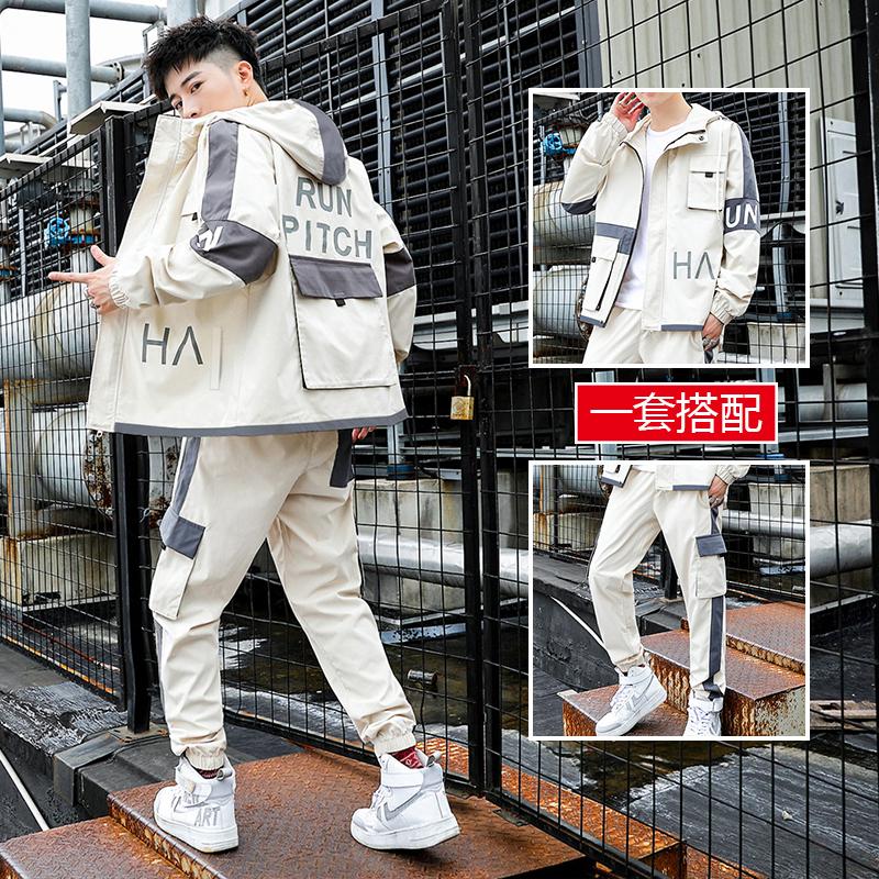 工装外套男装潮牌搭配一套帅气休闲运动套装男士夹克韩版春秋衣服