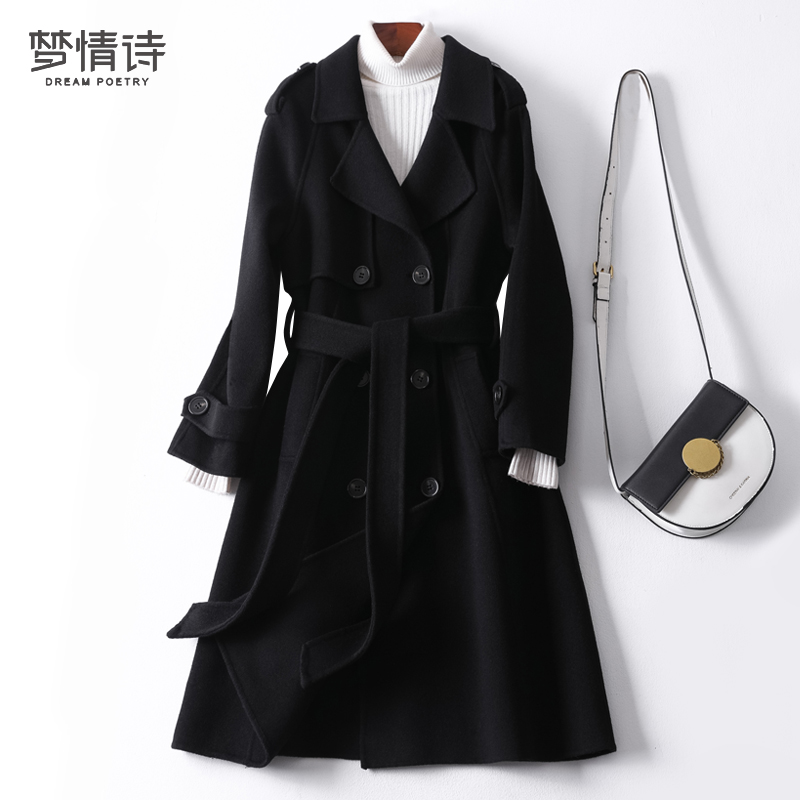 Double-sided cashmere coat women's winter 2020 new Hepburn style black thick high-end mid-length woolen coat