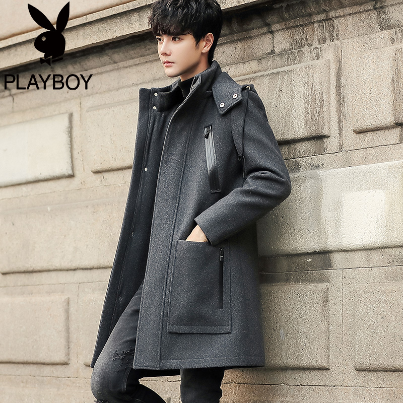 Playboy medium length hooded woolen coat for men