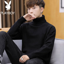 Playboy 2019 winter new plush high neck sweater men's underpainting sweater men's thick coat trend