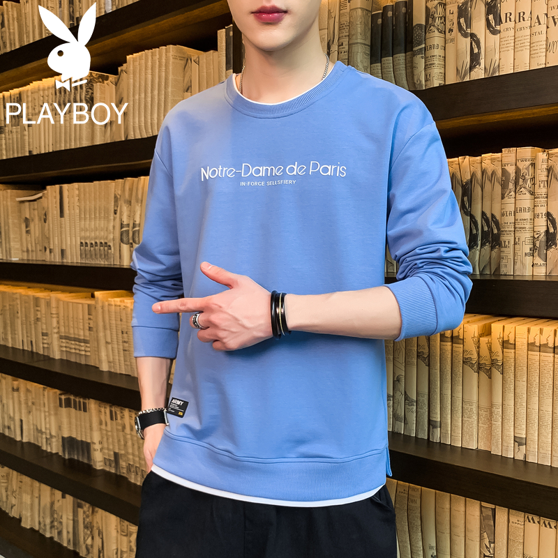 Playboy autumn sweater men's round neck casual trendy clothes youth spring and autumn long-sleeved T-shirt men