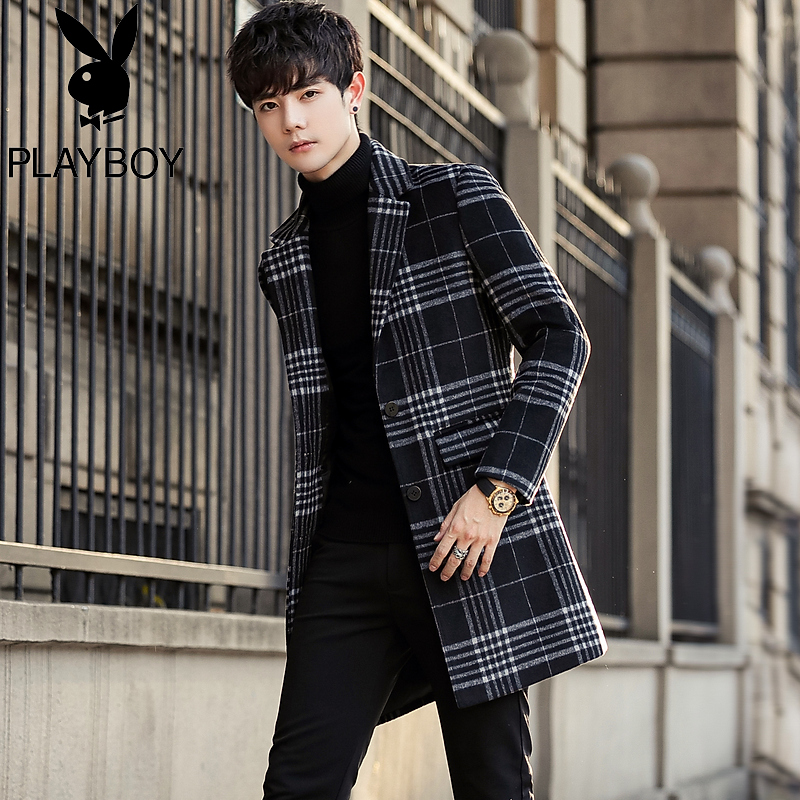 Playboy winter mid-length woolen coat men's autumn and winter plaid trench coat Korean trend woolen coat