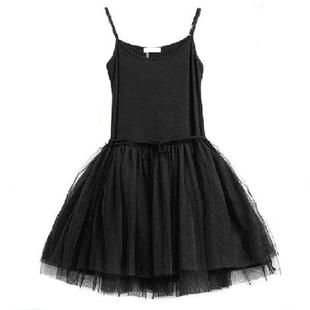 2021秋季连衣裙莫代尔吊带打底裙蕾丝网纱蓬蓬纱裙黑色背心裙衬裙