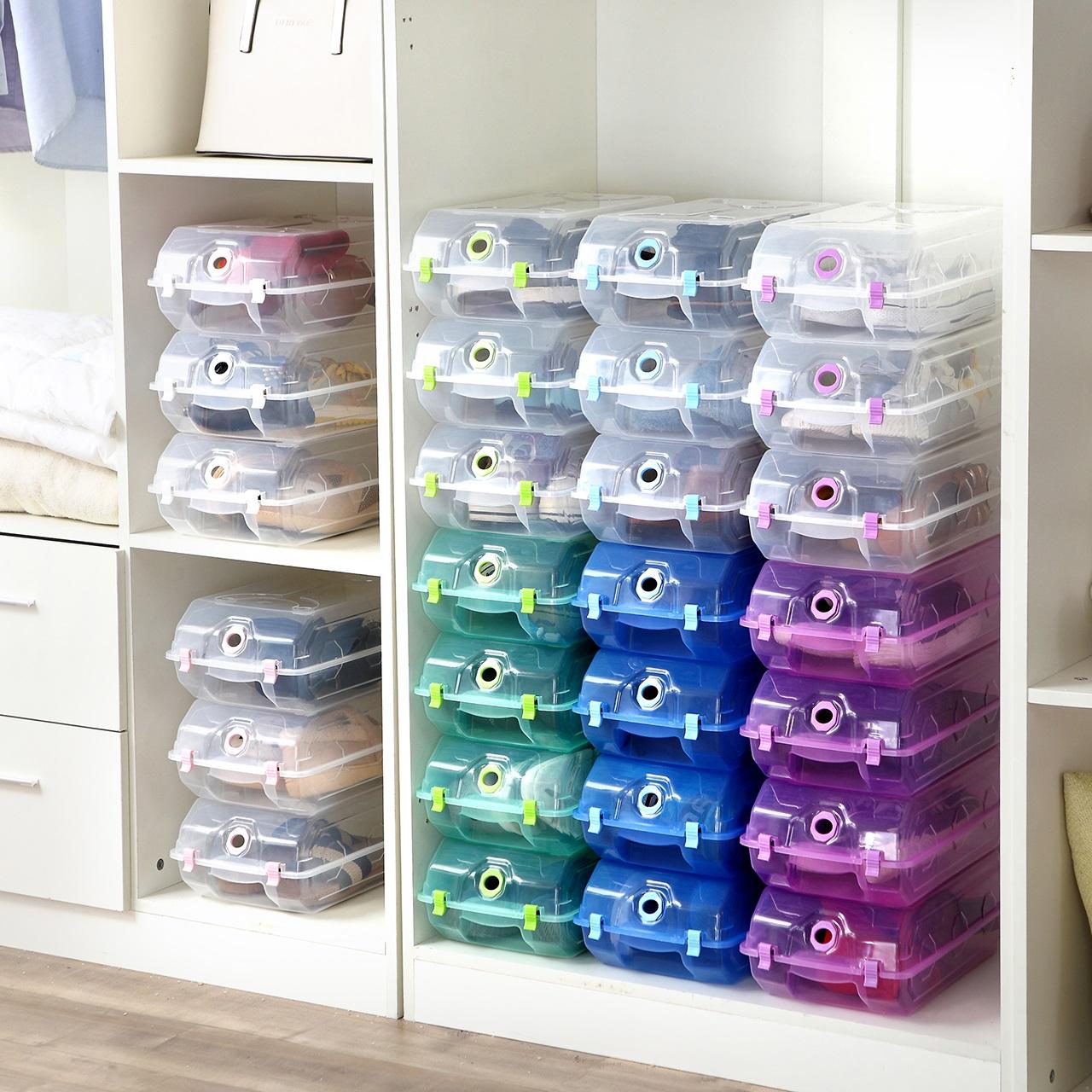 10个装加厚鞋盒塑料鞋子收纳盒叠加式抖音鞋柜宿舍收纳省空间