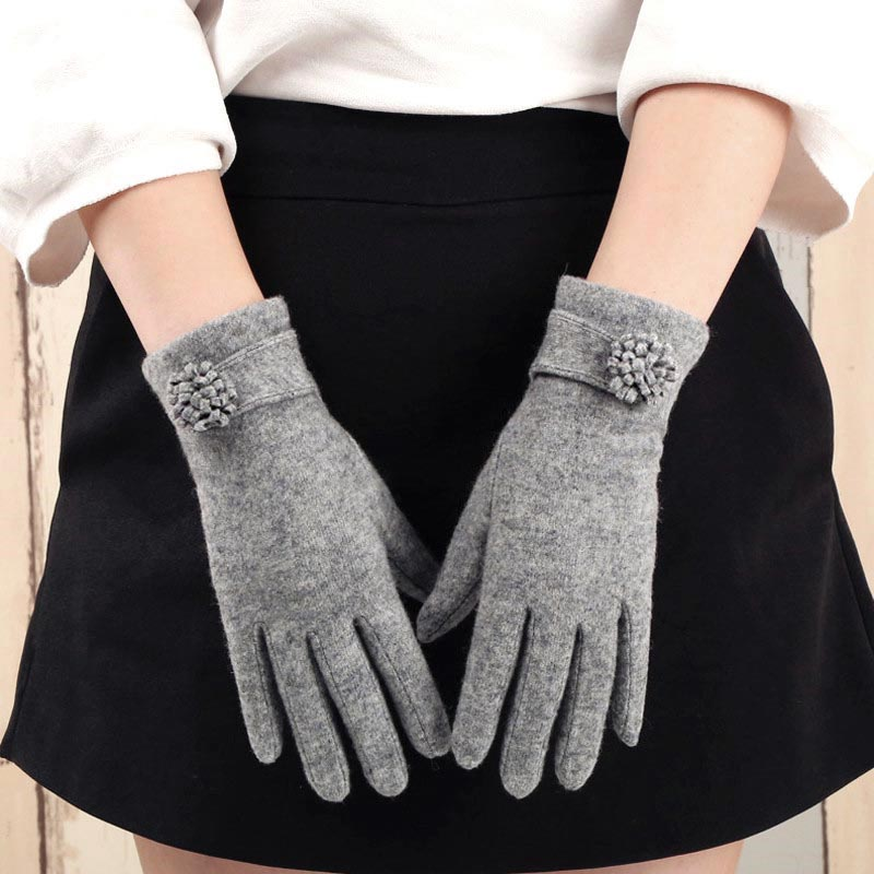 Wool gloves womens winter add cashmere thick warm autumn and winter cashmere thin sub finger riding driving touch screen