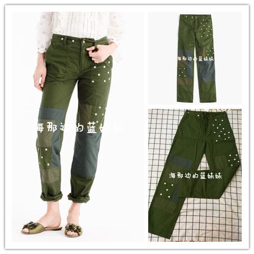 美国正品 J.CREW/J CREW 刺绣花朵BF风补丁CHINO长裤