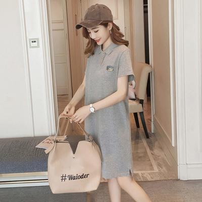 2020夏装新品韩版学院风灰色POLO领T恤学生中长款纯棉宽松女T恤裙
