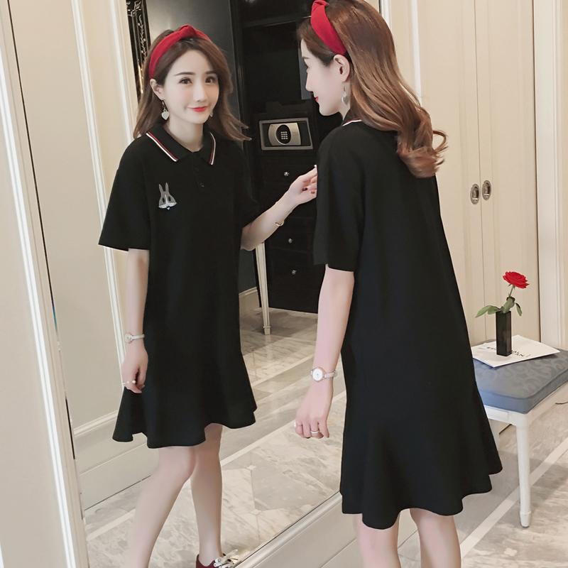 韩版夏装宽松POLO衫女绣花中长款短袖T恤裙学生纯棉荷鱼尾连衣裙