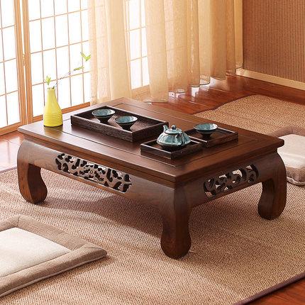 日式榻榻米茶几飘窗桌老榆木炕桌实木仿古小茶桌矮桌地台功夫茶几