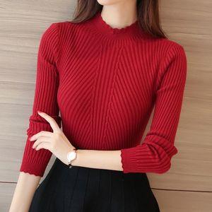 秋冬女裝花邊領修身短款性感通勤半高領純色針織打底衫女長袖毛衣