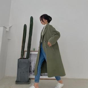 日系大衣新款中长款宽松时尚自制长袖温柔高端休闲橄榄绿毛呢外套