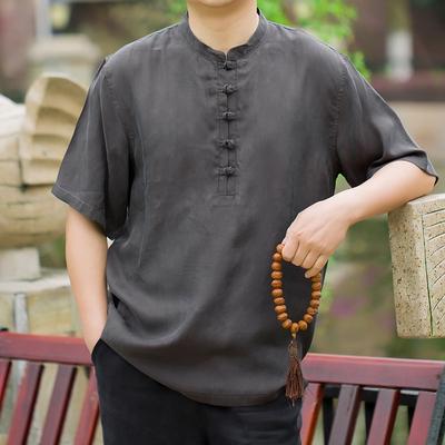 中國風男士立領短袖T恤圓領體恤大碼男t重磅真絲休閑寬松唐裝上衣