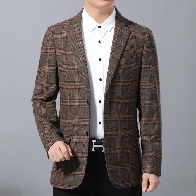 外套西服 新 休闲西装 男装 单西修身 大码 免烫羊毛呢上衣秋冬厚款 男士