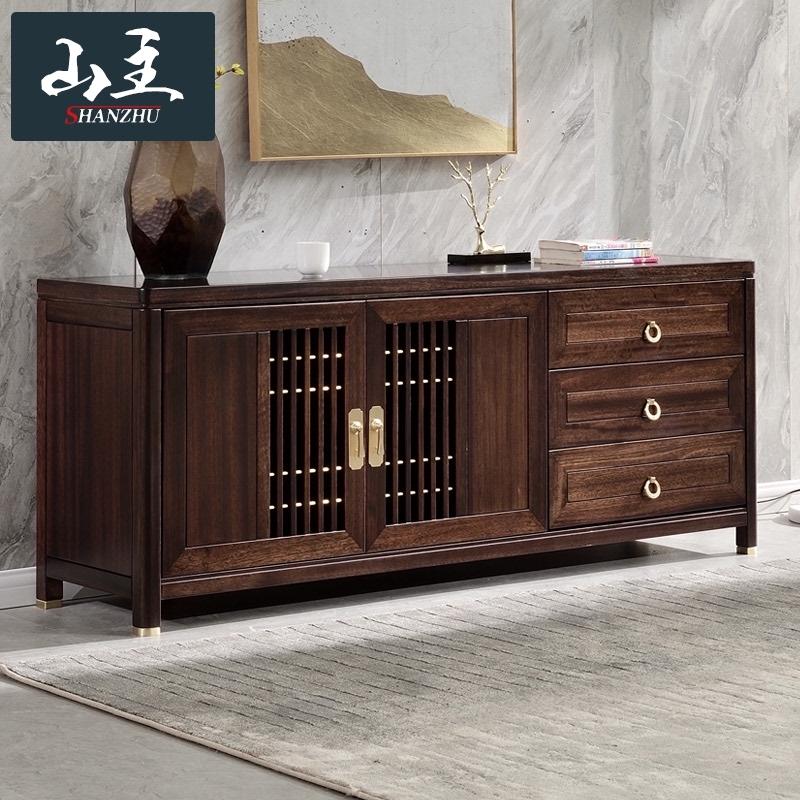 全部の木のテレビの箱の黒い檀の高いテレビの箱の1.6メートルホールの戸棚の寝室のテレビの箱の新しい中国式の家具