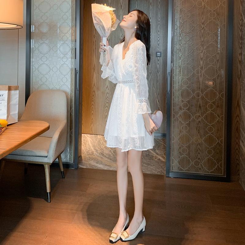 满11元可用10元优惠券秋装2019年新款甜美雪纺连衣裙女秋收腰显瘦气质裙子仙女超仙森系