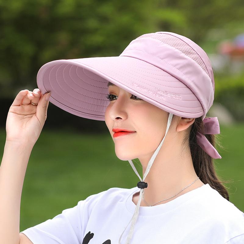 帽子女大沿空頂太陽帽防曬防紫外線夏天戶外百搭青年騎車遮陽帽