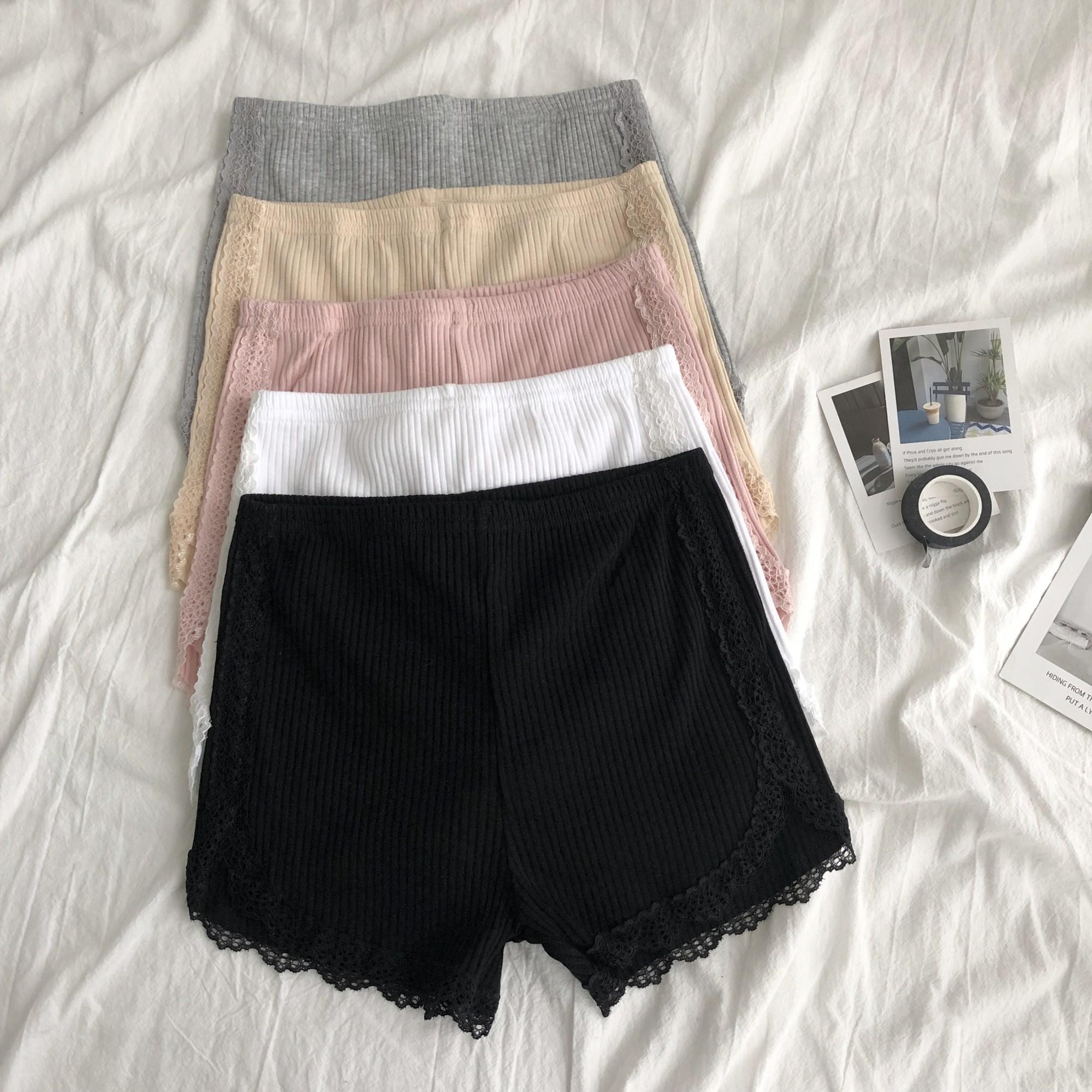 纯色安全裤女2020新款夏季蕾丝花边螺纹百搭短裤防走光透气打底裤