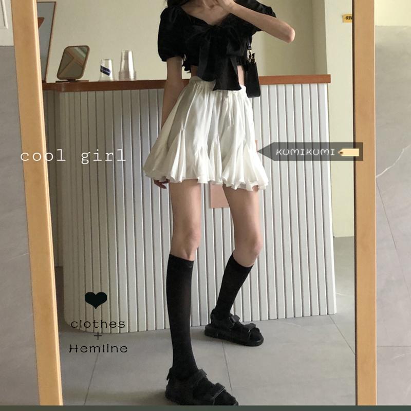 白色显瘦蓬蓬A字裙女装减龄短裙夏季韩版百搭高腰半身裙学生裙子