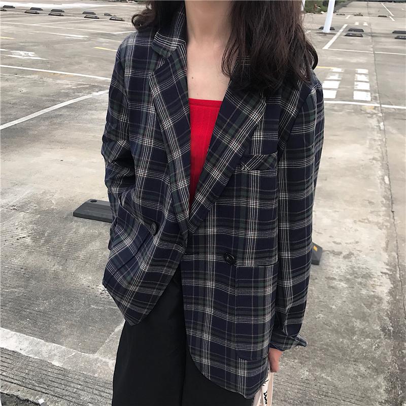 2018新款韩版秋季女装港风休闲宽松百搭简约薄款西装外套学生上衣