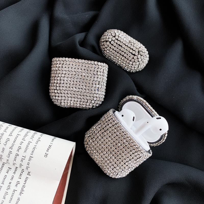 热销47件买三送一苹果潮牌时尚镶钻奢华女款无线蓝牙耳机套Airpods硬保护套防尘防摔防刮花个性创