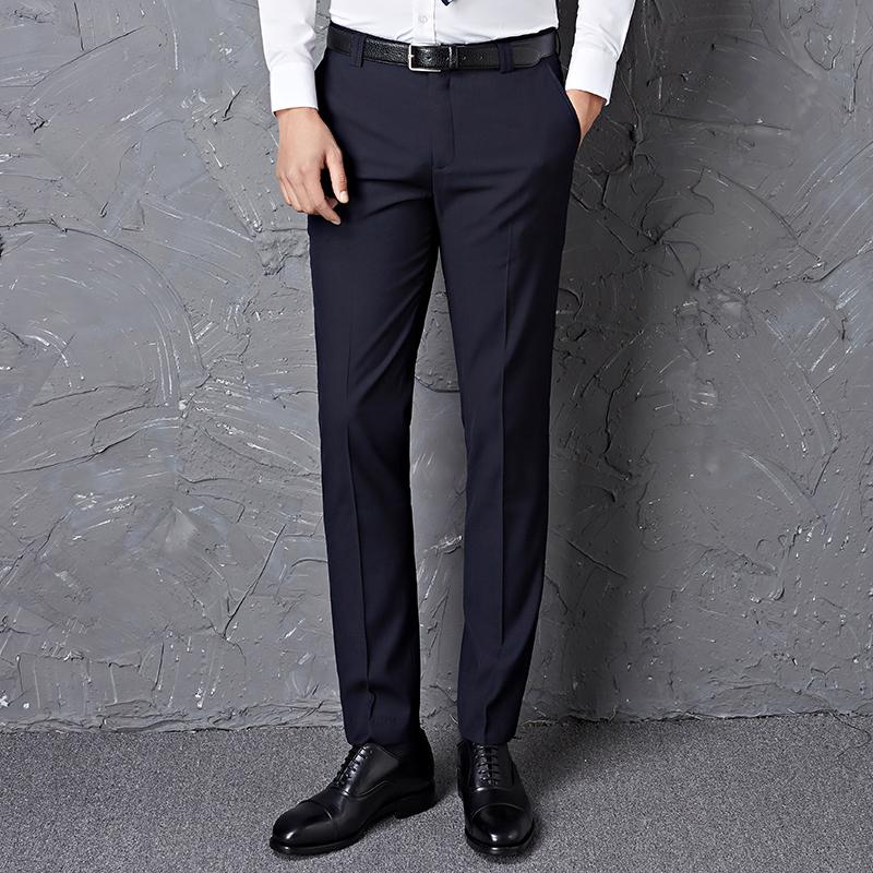 修身西裤男士黑色夏秋直筒西装裤工作商务薄款休闲职业裤正装裤子