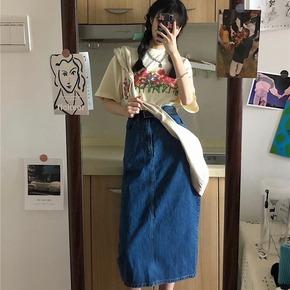 牛仔半身裙女中长款秋冬复古开叉裙子长裙半截裙高腰显瘦气质半裙