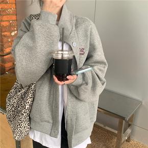 灰色外套女宽松韩版加厚立领开衫上衣2021年新款春秋百搭休闲卫衣
