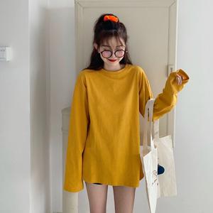 糖果色长袖t恤女ins超火韩版宽松百搭纯色打底衫基础款纯棉上衣潮